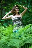 beautiful woman in the forest. Summer time