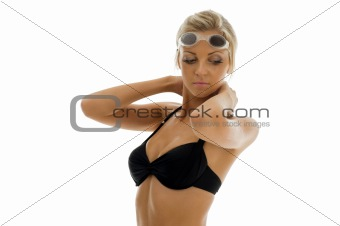 sportwoman in swimsuit with swimming goggles