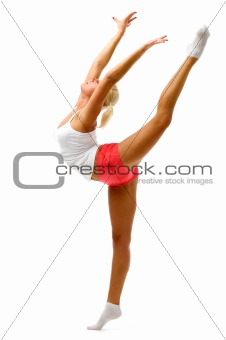 woman is making gymnastic exercises