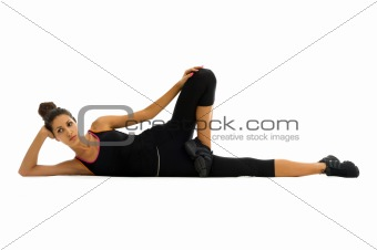 beautiful woman is making exercises
