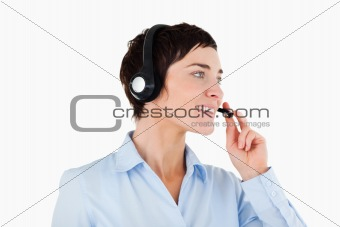 Close up of a businesswoman using a headset
