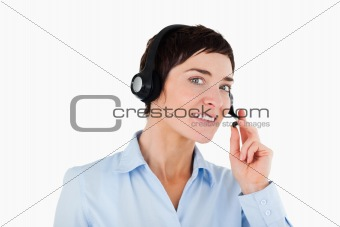 Close up of a female worker using a headset