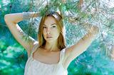 beautiful woman  in the forest. In the Sunlight