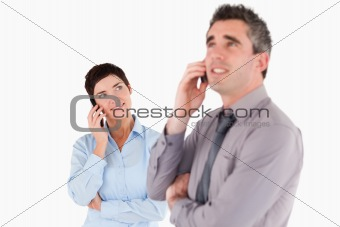 Office workers making a phone call