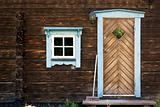 Facade of log cabin