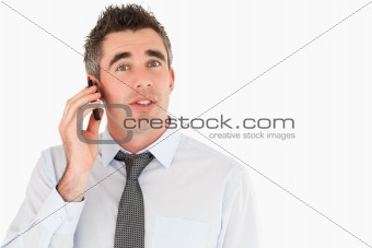 Office worker making a phone call