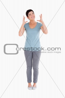 Upset woman standing up