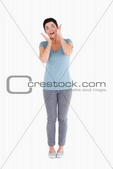 Agape woman posing