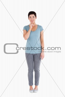Doubtful woman posing