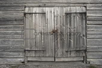 Old gray wooden door