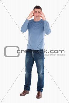 Anxious man posing
