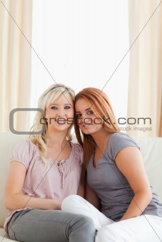 Hugging Friends sitting on a sofa looking into the camera