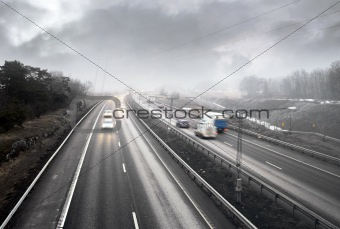 Highway traffic in fog