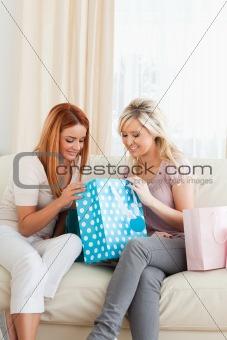 Cute young Women with shopping bags
