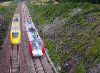Red and yellow train