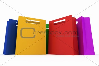 Assorted colored shopping bag