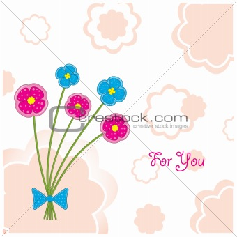 Plasticine flowers (postcard), vector illustration