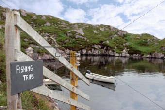 fishing trips sign and scenic view