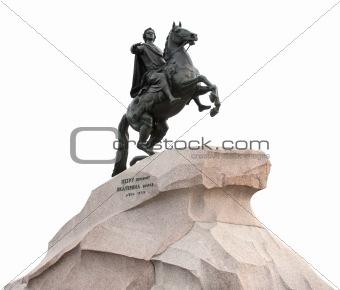 """Bronze Horseman"" in Saint-Petersburg, Russia isolated on white."