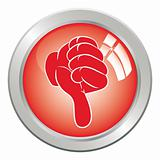 Icon button hand, gesture thumb down.