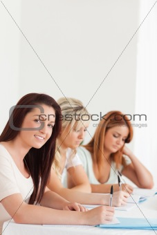 Portrait of smiling Students learning at a table