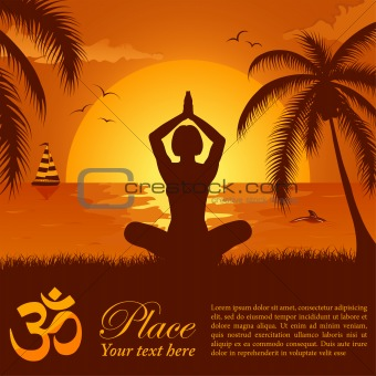 Silhouette of a Girl in Yoga pose on Summer background