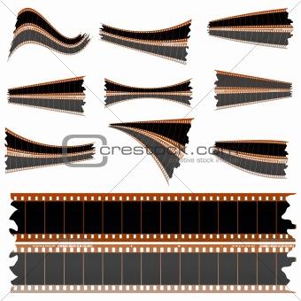 Negative film strips on white