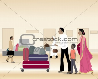 asian family with luggage