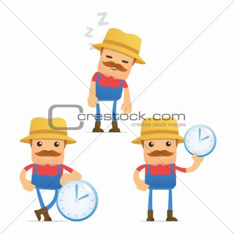 set of funny cartoon farmer in various poses for use in presentations, etc.
