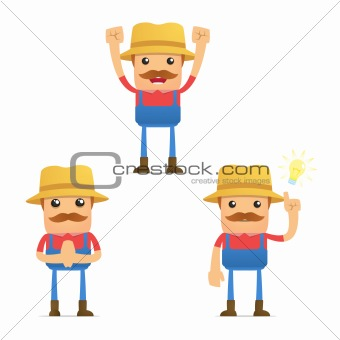 set of funny cartoon farmer in various poses for use in presentations, etc.e