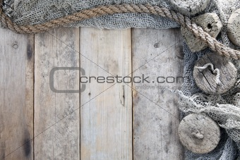 Cork, fishing net and rope