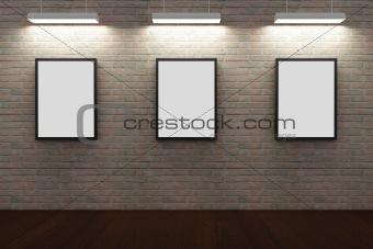 Frames on brick wall