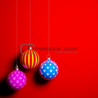 Card blank with christmas balls