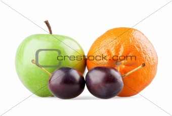 Apple, orange and two plums