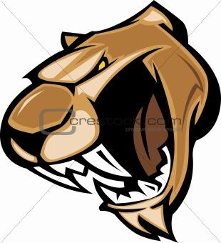 Cougar Mascot Head Vector Graphic