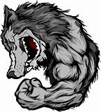 Wolf Mascot Flexing Arm Vector Cartoon