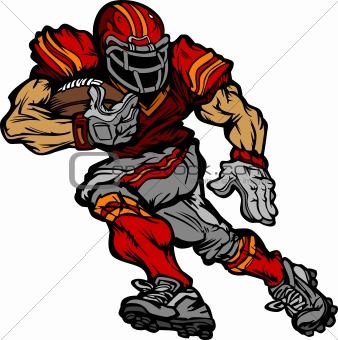 Football Player Running back Vector Cartoon