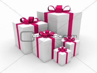 3d pink gift box christmas