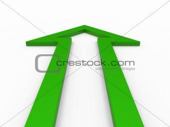 3d arrow green up
