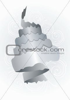 abstract grey paper roll on white