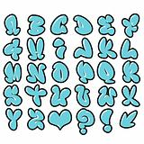 funny blue bubble font graffiti alphabet