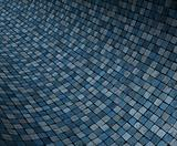 3d render concave curved blue grunge mosaic surface