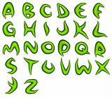 3d render of green bio eco alphabet fonts