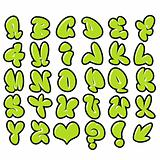 funny green bubble font graffiti alphabet