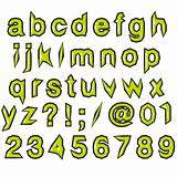 green glossy punk techno eighties font