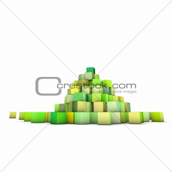 3d render large stack of green cubes on white