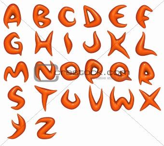 3d render of trendy glossy orange font alphabet
