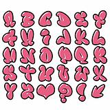 funny pink bubble font graffiti alphabet