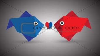 Vector Origami Couple Fish