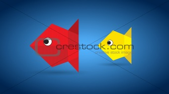 Vector Origami Couple Fish
